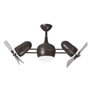 Dagny Textured Bronze LED Rotational Ceiling Fan with Barn Wood Tone Wood Blades