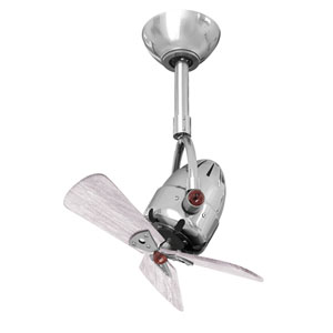 Diane Polished Chrome Oscillating Directional Ceiling Fan with Barn Wood Tone Wood Blades