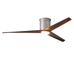 Eliza-HLK Brushed Nickel 56-Inch LED Ceiling Fan with Walnut Tone Blades