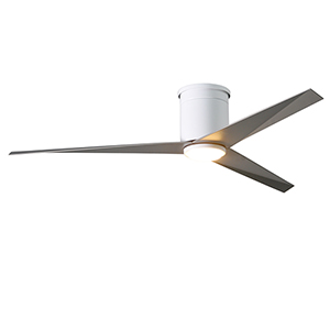 Eliza-HLK Gloss White 56-Inch LED Ceiling Fan with Brushed Nickel Blades