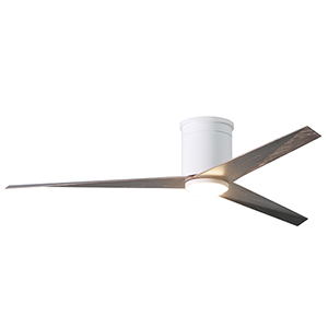 Eliza Gloss White 56-Inch Flush Mount Ceiling Fan with Frosted Glass LED Light Kit