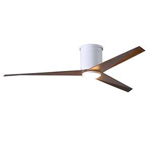 Eliza-HLK Gloss White 56-Inch LED Ceiling Fan with Walnut Tone Blades