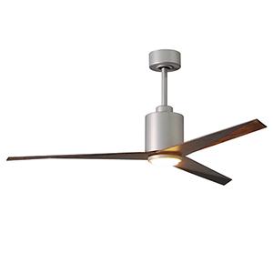 Eliza-LK Brushed Nickel 56-Inch LED Ceiling Fan with Walnut Tone Blades