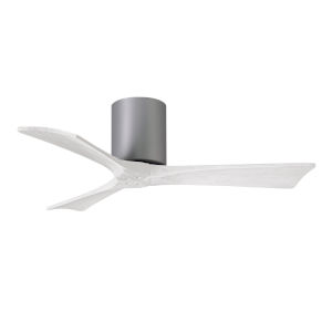 Irene-3H Brushed Nickel and Matte White 42-Inch Outdoor Ceiling Fan