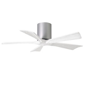 Irene-5H Brushed Nickel and Matte White 42-Inch Outdoor Ceiling Fan