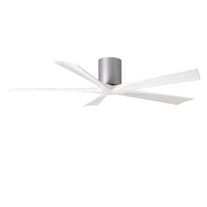 Irene-5H Brushed Nickel and Matte White 60-Inch Outdoor Ceiling Fan
