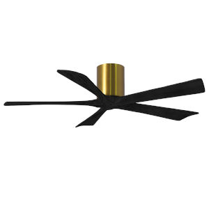 Irene-5H Brushed Brass and Matte Black 52-Inch Outdoor Ceiling Fan