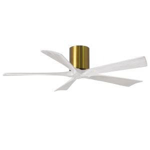 Irene-5H Brushed Brass and Matte White 52-Inch Outdoor Ceiling Fan