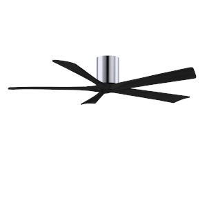 Irene-5H Polished Chrome and Matte Black 60-Inch Outdoor Ceiling Fan