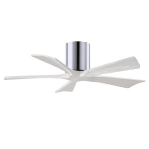 Irene-5H Polished Chrome and Matte White 42-Inch Outdoor Ceiling Fan