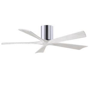 Irene-5H Polished Chrome and Matte White 52-Inch Outdoor Ceiling Fan