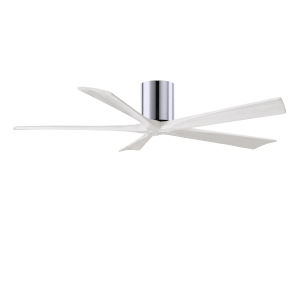 Irene-5H Polished Chrome and Matte White 60-Inch Outdoor Ceiling Fan