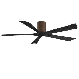 Irene-5H Walnut and Matte Black 60-Inch Outdoor Ceiling Fan
