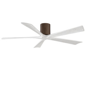 Irene-5H Walnut and Matte White 60-Inch Outdoor Ceiling Fan