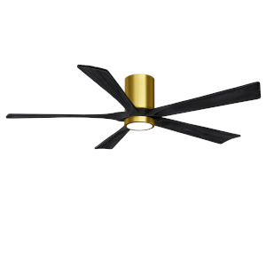 Irene-5HLK Brushed Brass and Matte Black 60-Inch Ceiling Fan with LED Light Kit