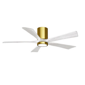 Irene-5HLK Brushed Brass and Matte White 52-Inch Ceiling Fan with LED Light Kit