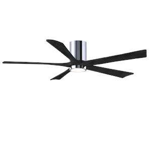 Irene-5HLK Polished Chrome and Matte Black 60-Inch Ceiling Fan with LED Light Kit