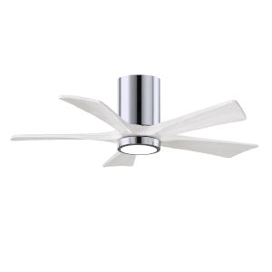 Irene-5HLK Polished Chrome and Matte White 42-Inch Ceiling Fan with LED Light Kit