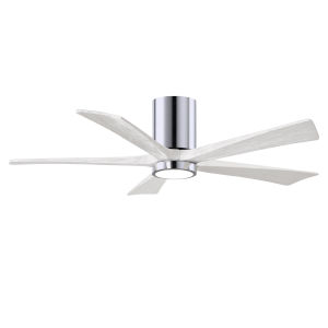 Irene-5HLK Polished Chrome and Matte White 52-Inch Ceiling Fan with LED Light Kit