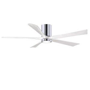 Irene-5HLK Polished Chrome and Matte White 60-Inch Ceiling Fan with LED Light Kit