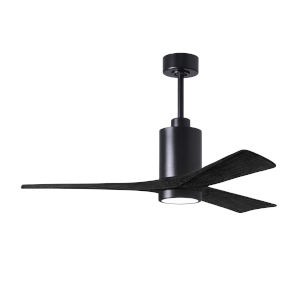 Patricia-3 Matte Black 52-Inch Ceiling Fan with LED Light Kit