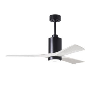 Patricia-3 Matte Black and Matte White 52-Inch Ceiling Fan with LED Light Kit