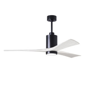 Patricia-3 Matte Black and Matte White 60-Inch Ceiling Fan with LED Light Kit