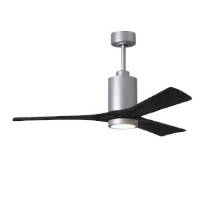 Patricia-3 Brushed Nickel and Matte Black 52-Inch Ceiling Fan with LED Light Kit