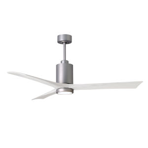 Patricia-3 Brushed Nickel and Matte White 60-Inch Ceiling Fan with LED Light Kit