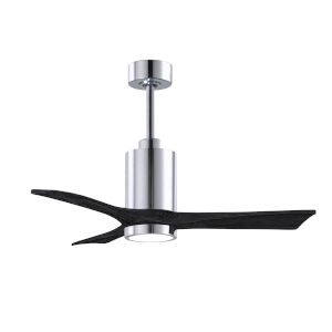Patricia-3 Polished Chrome and Matte Black 42-Inch Ceiling Fan with LED Light Kit