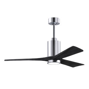 Patricia-3 Polished Chrome and Matte Black 52-Inch Ceiling Fan with LED Light Kit