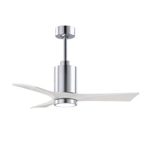 Patricia-3 Polished Chrome and Matte White 42-Inch Ceiling Fan with LED Light Kit