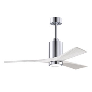 Patricia-3 Polished Chrome and Matte White 52-Inch Ceiling Fan with LED Light Kit