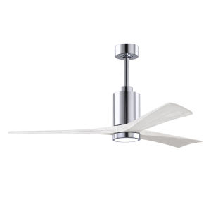 Patricia-3 Polished Chrome and Matte White 60-Inch Ceiling Fan with LED Light Kit