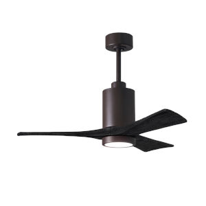Patricia-3 Textured Bronze and Matte Black 42-Inch Ceiling Fan with LED Light Kit