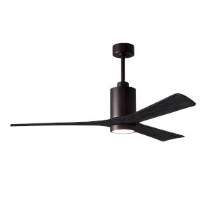 Patricia-3 Textured Bronze and Matte Black 60-Inch Ceiling Fan with LED Light Kit