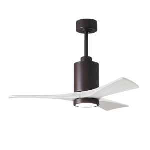 Patricia-3 Textured Bronze and Matte White 42-Inch Ceiling Fan with LED Light Kit