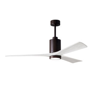 Patricia-3 Textured Bronze and Matte White 60-Inch Ceiling Fan with LED Light Kit