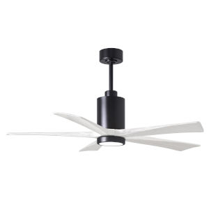 Patricia-5 Matte Black and Matte White 52-Inch Ceiling Fan with LED Light Kit