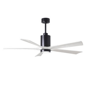 Patricia-5 Matte Black and Matte White 60-Inch Ceiling Fan with LED Light Kit