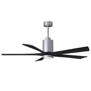 Patricia-5 Brushed Nickel and Matte Black 60-Inch Ceiling Fan with LED Light Kit