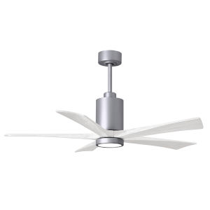 Patricia-5 Brushed Nickel and Matte White 52-Inch Ceiling Fan with LED Light Kit