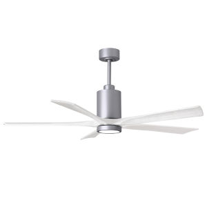 Patricia-5 Brushed Nickel and Matte White 60-Inch Ceiling Fan with LED Light Kit