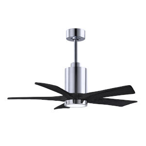 Patricia-5 Polished Chrome and Matte Black 42-Inch Ceiling Fan with LED Light Kit