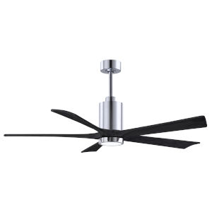 Patricia-5 Polished Chrome and Matte Black 60-Inch Ceiling Fan with LED Light Kit