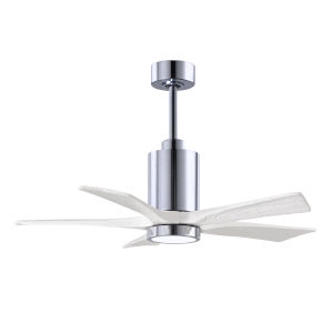 Patricia-5 Polished Chrome and Matte White 42-Inch Ceiling Fan with LED Light Kit
