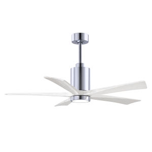 Patricia-5 Polished Chrome and Matte White 52-Inch Ceiling Fan with LED Light Kit