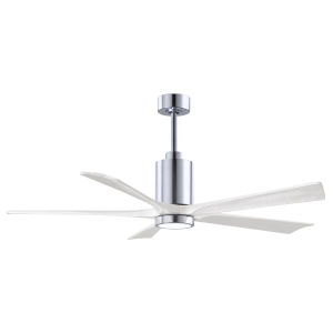 Patricia-5 Polished Chrome and Matte White 60-Inch Ceiling Fan with LED Light Kit