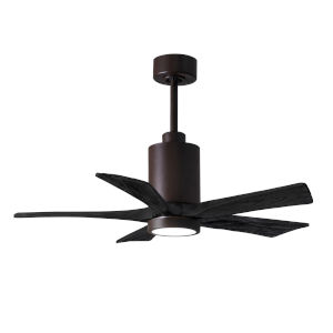 Patricia-5 Textured Bronze and Matte Black 42-Inch Ceiling Fan with LED Light Kit