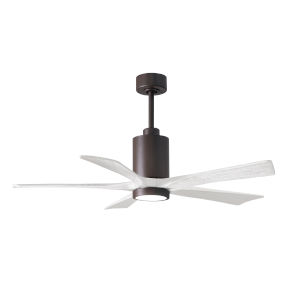 Patricia-5 Textured Bronze and Matte White 52-Inch Ceiling Fan with LED Light Kit